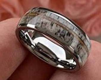 Reg 499.95  8mm Domed Silver Tungsten Carbide Steel Band, Comfort Fit w/ Real Deer Antler and Koa Wood (US Sizes 6-13)