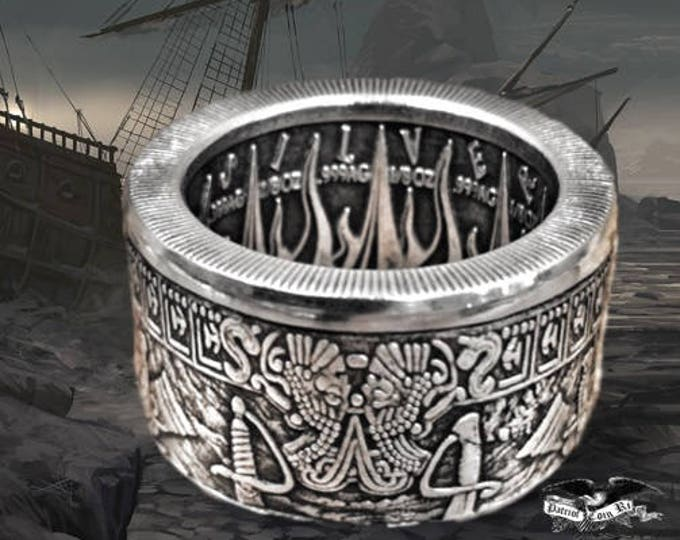 """Silver """"Pieces of Eight,"""" """"Praedatum in Mundo"""" (Latin) Antiqued - A Predatory World - .999 Pure Silver Coin Ring (pirates of the Caribbean)"""