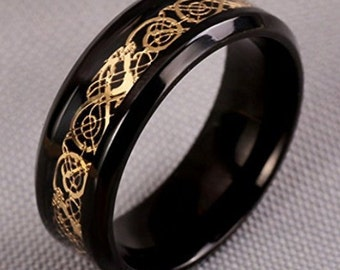 8mm Black Titanium w/ Gold over Black Celtic Dragon Classic Wedding Band (Good Luck Ring) US Ring Size 7-14