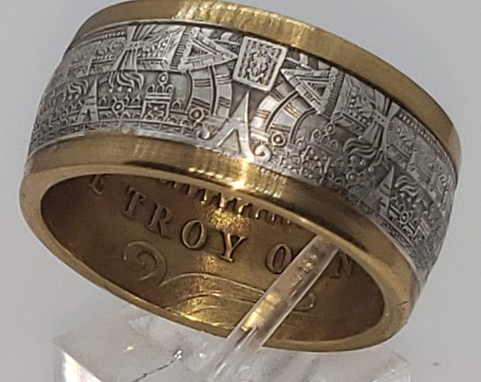 1oz Aztec Mayan Calendar 9999 Solid Silver Coin Ring (Tonatiuh Sun Stone ~ Emperor Cuauhtémoc) Rare Coin forged into a Ring (US Sizes 4-24)