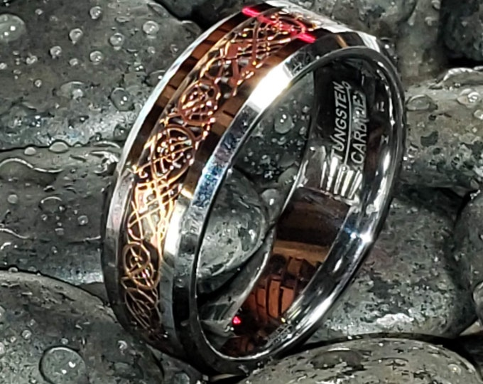 Reg 199.99  8mm Silver w/ 18K Rose Gold over Black Celtic Dragon Tungsten Carbide Classic Wedding Band (Good Luck Ring) US Size 5-17