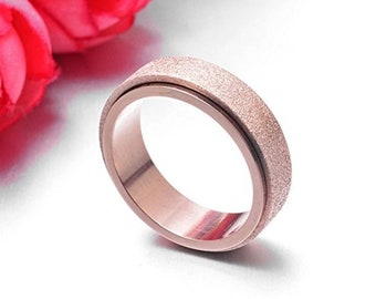 Reg. 109.95 | 8mm Sand Blasted Rose Gold Titanium Ring