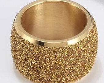 Reg.159.95 16mm Womens Sandblasted 14k Yellow Gold Finish Wedding Band Engagement Domed Ring (fashion, anniversary, promise, wedding ring)