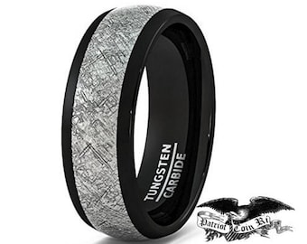 8mm Black Tungsten Carbide Ring Vintage Meteorites Pattern Wedding Engagement Band Domed Comfort Fit engagement rings, anniversary, promise
