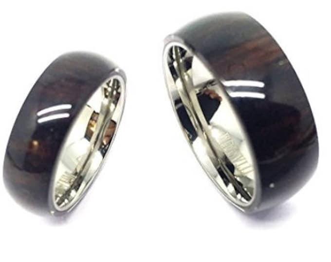 His & Her's 8MM/6MM Titanium With Pure Hawaiian Dark Koa Wood Domed Top Wedding Band Ring Set  (wedding rings, engagement ring, anniversary)