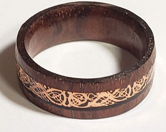 REG 150.00 - Solid 8mm Wood Band w/ Rose Gold Celtic Dragon Inlay Design | nature, wedding ring, engagement ring,anniversary band,valentines