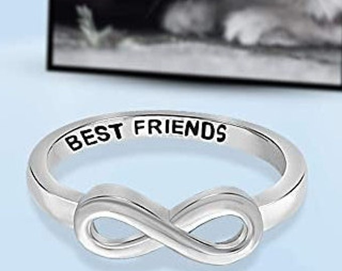 "Sterling Silver ""Best Friends"" Infinity Band, Women's Ring, Mother's Day Gift, Eternity Knot Symbol Band, US Sizes  5-10."