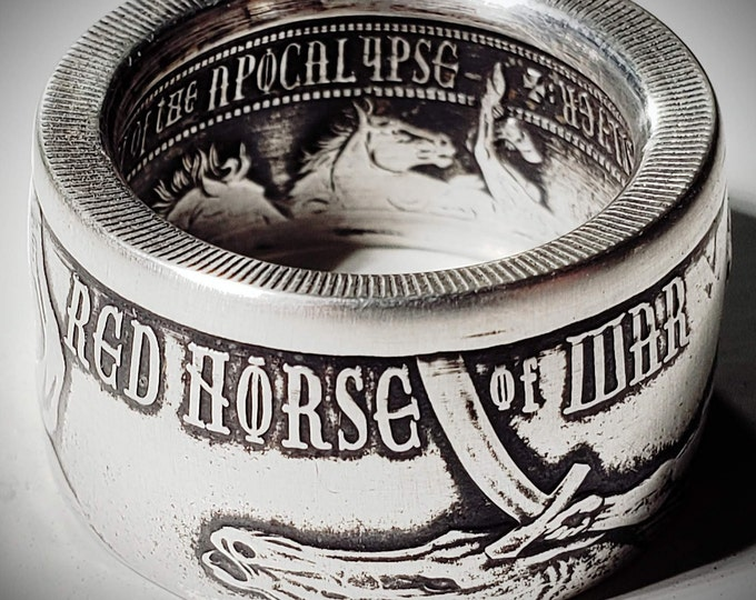 """LIMITED EDITION:  """"Red Horse Of War"""" from The Four Horseman Of The Apocalypse Series .999 Solid Silver Coin Ring (1oz Ounce Silver)"""