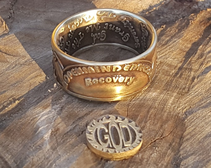 AA Coin Ring, Sobriety Reminder, AA anniversary, Alcoholics Anonymous, AA Coin, Coin Rings, Recovery Jewelry, Recovery Gift, Free Engraving