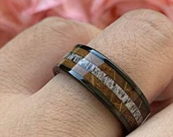 8mm Black Tungsten Carbide Ring, Whiskey Barrel Wood, Antler, Wedding, Engagement Band, Comfort Fit, US Sizes-6-13.