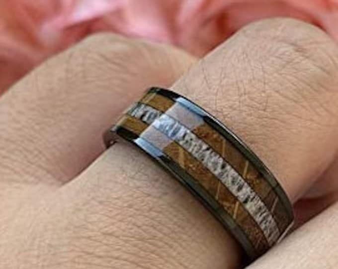 8mm Black Tungsten Carbide Ring, Whiskey Barrel Wood, Antler, Wedding, Engagement Band, Comfort Fit, US Sizes-6-13.