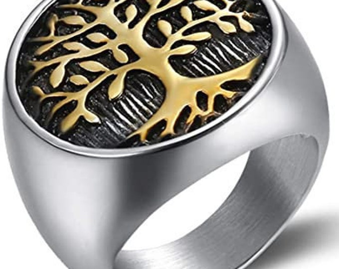 Mens Vintage Stainless Steel Tree of Life Signet Ring, Classic Gothic Family Tree Wedding Band,22mm Silver/Gold Finished Band (US Size 7-16)