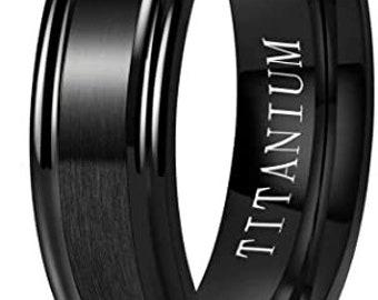 6mm Black Titanium Band,Wedding,Engagement Band,Matte Brushed Finished,Step Edge,Polished,Comfort Fit,Men's/Ladies/Women's/Girls' Ring.