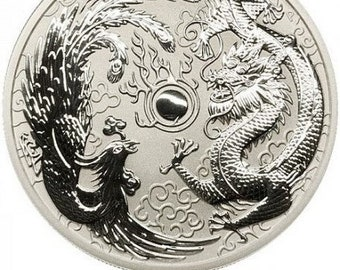 VERY RARE 2017 .9999 Pure silver 1oz Dragon & Phoenix Coin (gold, rhodium, silver, platinum, palladium, and other plating options available)