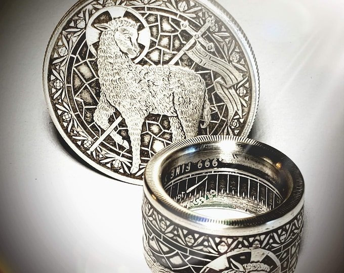 """LIMITED EDITION:  """"Lamb of God"""" Christian Coin Ring .999 Pure Silver Coin Ring (Shown in Antique Patina) Anniversary Ring, Catholic Rings"""
