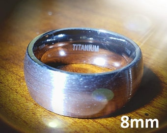 Reg 215.95 - 8mm Titanium Dome (Men, Woman, Unisex) Wedding Band Natural Gray Brushed Outer & Smooth Polished Inner Band -Comfort Fit Style2