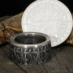 """Silver """"Pieces of Eight,"""" Spanish Dollar Shown in Antiqued Patina - A Predatory World - 999 Pure Silver Coin Ring (pirates of the Caribbean)"""