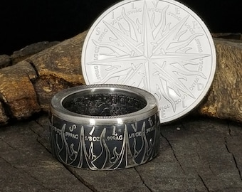 """FLAMES FACING OUT!  Silver """"Pieces of Eight,"""" Spanish Dollar - A Predatory World - 999 Pure Silver Coin Ring (pirates of the Caribbean)"""
