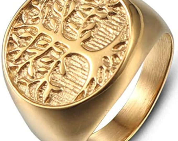 Mens Vintage Stainless Steel Tree of Life Signet Ring, Classic Gothic Family Tree Wedding Band,22mm Gold Finished Band,Comfort Fit.
