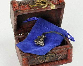 REG: 135.00  Authentic Meteorite Pendant Necklace with Bonus Hand-Crafted Treasure Chest Box, Show Case Box & Certificate of Authenticity