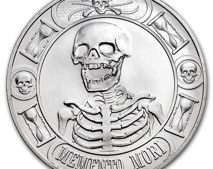 1 oz .9999 Silver Round - Memento Mori Coin Bullion (Anonymous Mint) (OPTIONS: Silver, 18K Gold, 24K Gold, Platinum, Rhodium, Rose Gold, etc