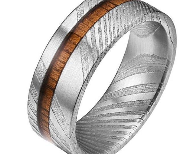 REG 550.00 - 8mm Rare Damascus Steel Real Wood Inlay Wedding Ring Statement Ring Flat Style |wedding ring, engagement ring, anniversary band