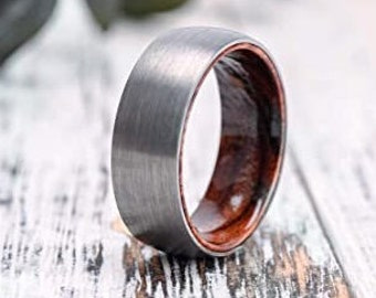 Custom Engraved Tungsten Carbide Ring, Silver Brushed Finish, Comfort Fit, Wood Sleeve Inside, Wedding Ring, Birthday, Anniversary Gift.