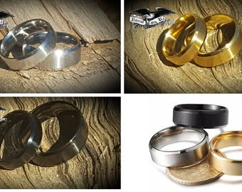Couples Engagement Set!  Titanium Bands (6mm/8mm Mens & Womens Stainless Steel brushed finish in Gold, Silver or Black) Wedding Rings Set