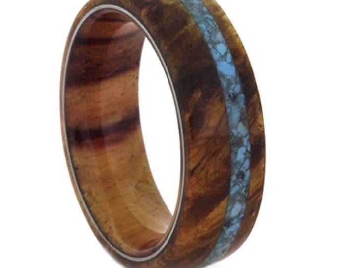 Reg 1599.00  Turquoise, Amboyna Burl and Tulip Wood 7mm Comfort-Fit Matte Titanium Band | Wedding Band, Engagement Ring, Anniversary Ring