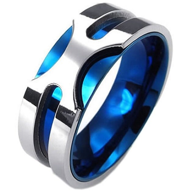 8mm Blue Ice Titanium Stainless Steel Ring Classic Band Etsy