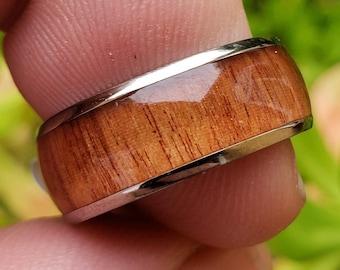 8mm Hawaiian Koa Wood & Titanium (Silver Finish) Vintage Dome Wedding Band, Engagement Rings, Men or Woman, (Band Sizes 6-13)