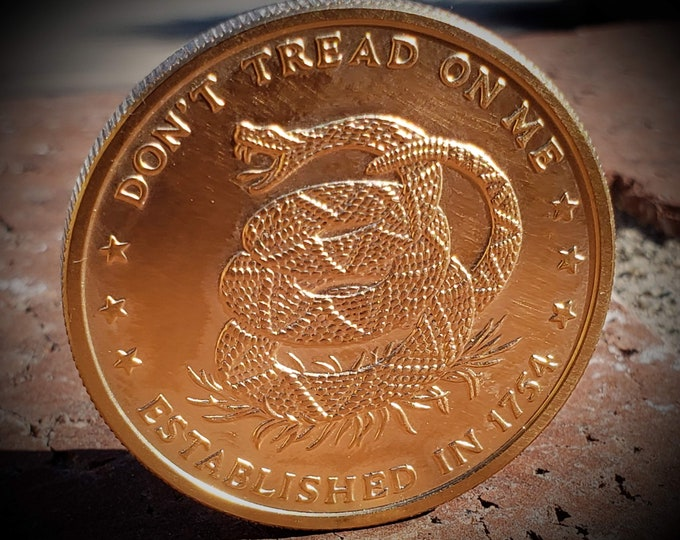 """1776-1976 """"Don't Tread on Me"""" Challenge Coin Round Bullion (Can be Plated in Precious Metal, Gold, Platinum, Silver, Rose Gold and more)"""