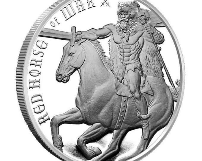 Red Horse of War, 1 oz Silver Round, Four Horsemen of the Apocalypse Series.