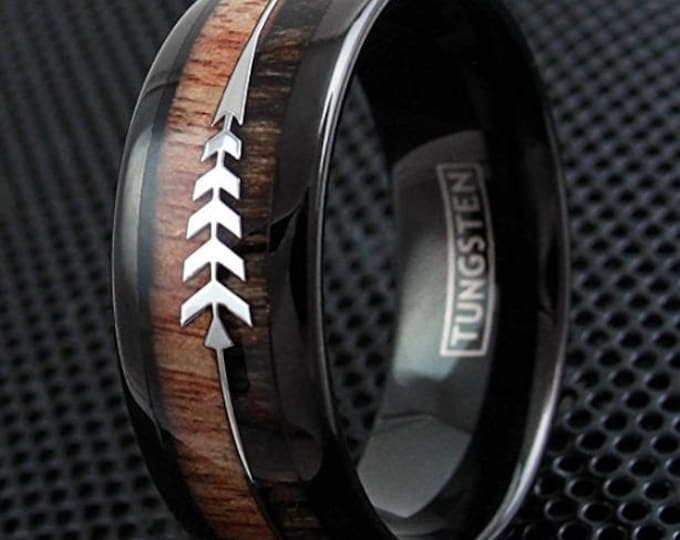 8mm Koa & Zebra Wood w/ Two Silver Arrows Inlay Dome Black Tungsten Ring |valentines day, engagement, wedding, anniversary #111