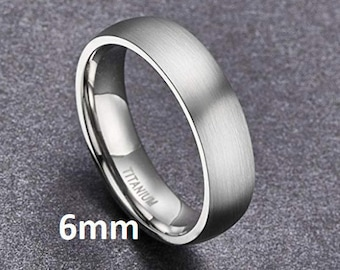 """Reg 215.95 - 6mm """"Hypoallergenic CP-2 Grey Grade Pure Titanium"""" Brushed Silver Comfort Fit Dome ( Mens & Womens Engagement Wedding Band )"""