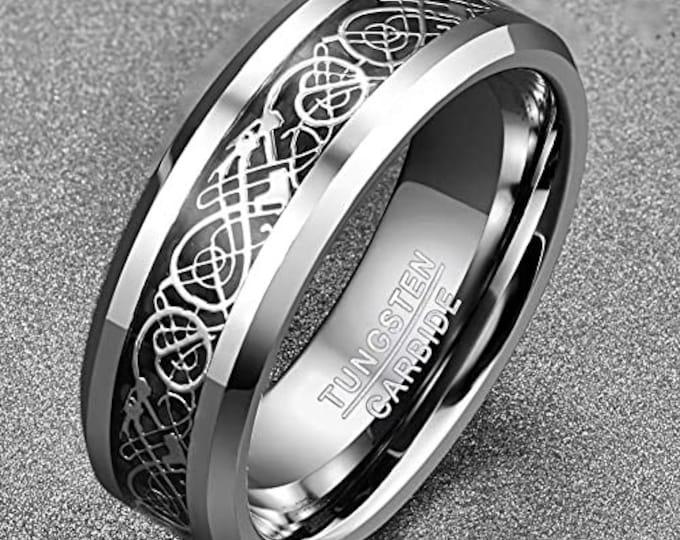 8mm Silver Celtic Dragon Tungsten Carbide Band,Black Carbon Fiber,Wedding,Engagement,Unisex Ring,Comfort Fit,US Sizes 6-13.5.