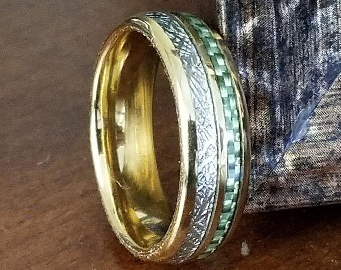 REG 345.95  7mm 24K Gold Tungsten Meteorite Dome Style & Irish Green Carbon Fiber Inlay | valentines day, engagement, anniversary, wedding
