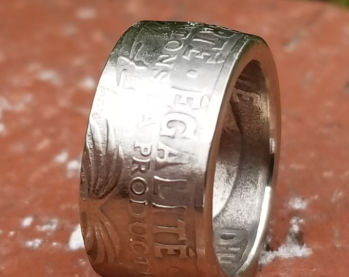 RANDOM 1975-1985 REPUBLIQUE D'HAITi 50 centimes Charlemagne Peralte~Double Cannons (Coin Converted into Coin Ring) Sizes 5-16