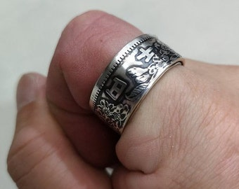Japanese 1964 1000 Yen .925 Pure Silver Coin Ring (Tokyo Olympic Games) - wedding band / engagement ring / Japanese Art / antique jewelry