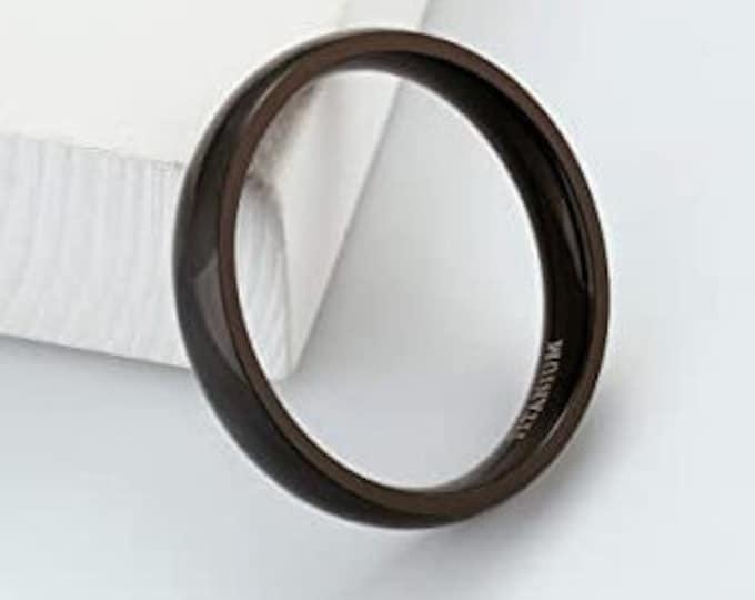 4mm Black Titanium Band,Wedding,Engagement,Dome Ring,High Polished,Comfort Fit,Unisex Ring,Men's Ring,Ladies/Women/Girls' Ring.