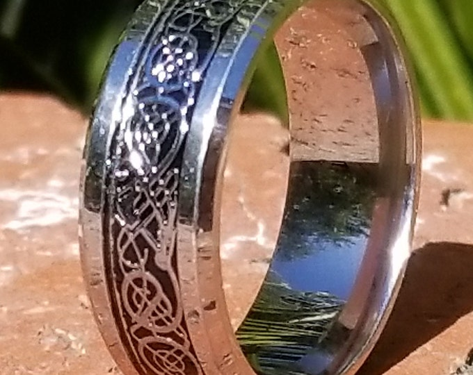Reg 199.99  8mm Silver w/ Silver over Black Celtic Dragon Titanium Classic Wedding Band (Good Luck Ring) US Size 7-14