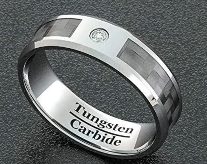 8mm Silver Tungsten Carbide Ring, Polished Carbon Fiber Inlay, Cubic Zirconia (CZ) Diamond, Unisex Band, Comfort Fit.