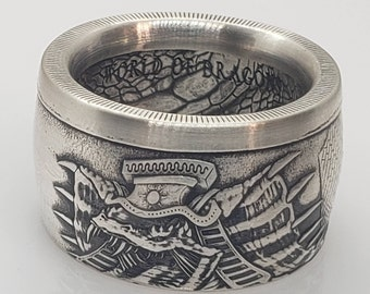 """RARE - The Egyptian Dragon 1 oz Silver """"Last of the World of Dragons Series"""" 1 Troy Ounce .999 Pure Silver Ring made from Coin US Size 5-24"""