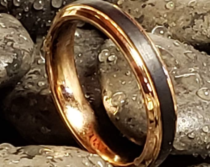 14k Rose Gold / Black 4mm Tungsten Carbide Ring Groove Beveled Edge Comfort Fit (US Ring Size 4-9) Engagement Ring, Anniversary Band