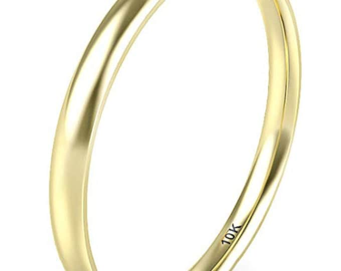 2mm, 10K Solid Yellow Gold, Women, Girls Plain Band, Comfort Fit, Domed (Wedding Band, Engagement Ring, Promise, Stackable Rings, Toe).