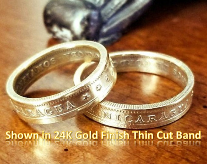 Ladies Thin Width 1972 Nicaragua 1 córdoba Heritage Coin Rings - Un Cordoba (Beautiful Ring Hand Crafted from a coin) Mens Wide Band Avail.