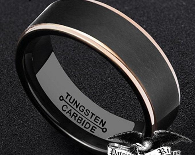 OVERSTOCK REG 299.99 - 8mm Men's Black Brushed & Rose Gold Tungsten Carbide Wedding Band Anniversary Ring (Ships Same Day)US 7, 9, 10 or 13