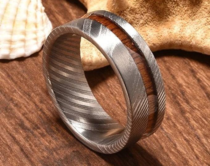 REG 550.00 - 8mm Rare Damascus Steel Real Wood Inlay Wedding Ring Statement Ring Flat Style  wedding ring, engagement ring, anniversary band