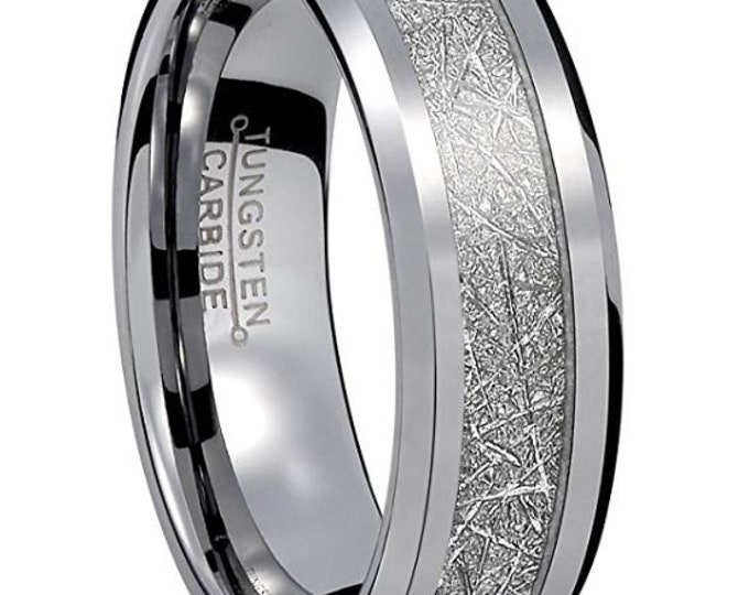 8mm Silver Tungsten Carbide with Flat Wall & Beveled Sides Meteorite Pattern Inlay (Wedding Band, Engagement, Promise Ring, Anniversary)
