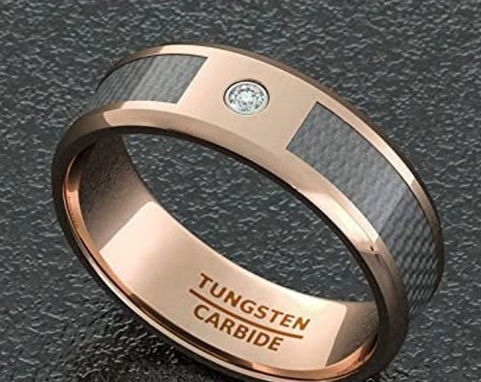8mm  Rose Gold Tungsten Carbide Ring, Polished Finish Carbon Fiber Inlay, Cubic Zirconia (CZ) Diamond, Unisex Band, Comfort Fit.